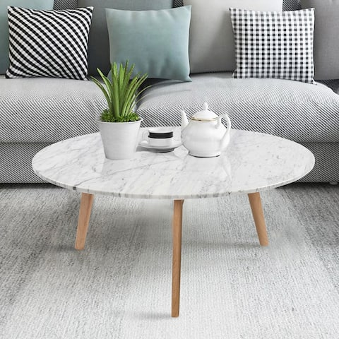 Carson Carrington Tangeberg 31-inch Round Marble Coffee Table with Oak Legs