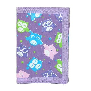 CTM® Kid's Owl Print Trifold Wallet - Purple - One size