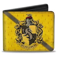 Hufflepuff Crest Stripe4 Weathered Gold Brown Bi Fold Wallet - One Size Fits most