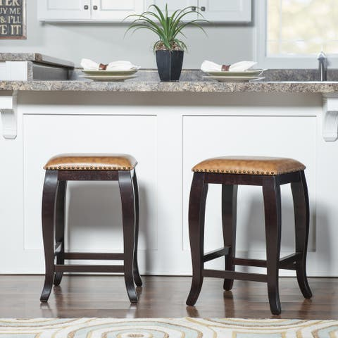 Linon Pinnacle Backless Counter Stool Dusty Brown Seat - N/A
