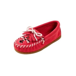 Minnetonka Slippers Girls Thunderbird II Cotton Lace Suede Pink