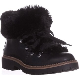 ESPRIT Cameron Fur Lined Lug Sole Boots, Black