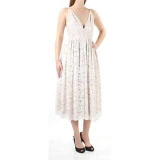 Womens Beige Sleeveless Tea Length Fit + Flare Prom Dress Size: 8