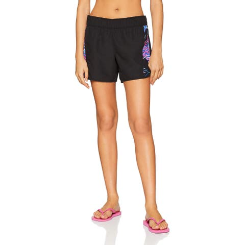 Hurley Womens Swimwear Black Pink Size Large L Pull On Board Shorts