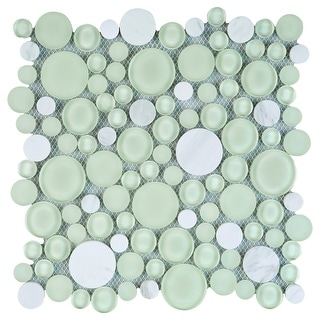 TileGen. Cloud Bubble Random Sized Mixed Material Mosaic Tile in Green/White Wall Tile (10 sheets/7.7sqft.)
