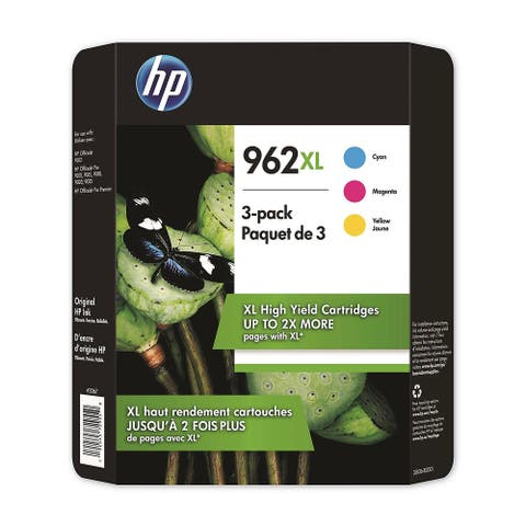 HP 962XL High Yield Colors 3 Pack Cyan Magenta Yellow Ink Cartridges 3JB36BN - black