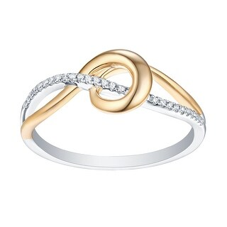 Prism Jewel 0.06CT Natural G-H/I1 Diamond Light Weight Two-Tone Gold Ring - White G-H
