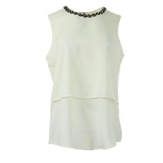 Calvin Klein Womens Embellished Sleeveless Blouse - XL