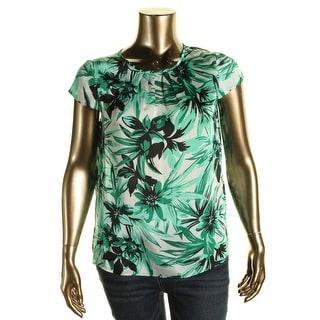 Kasper Womens Georgette Floral Print Blouse