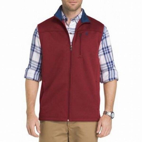 IZOD Red Mens Size Large L Full-Zip Mock Neck Pocket Vest Jacket
