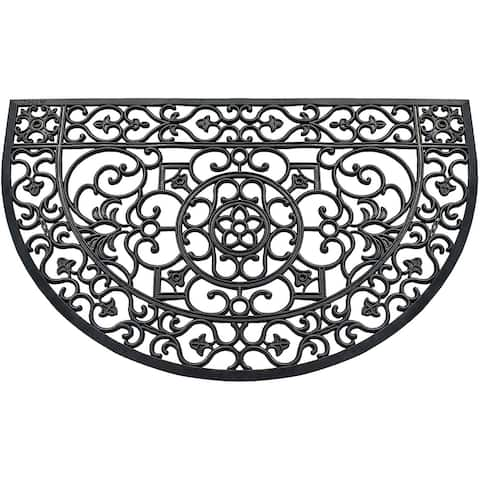 """A1HC Modern Indoor/Outdoor 30""""X48"""" Rubber Grill Doormat for Patio,Front Door,All Weather /Large Size For Double & single Doors"""