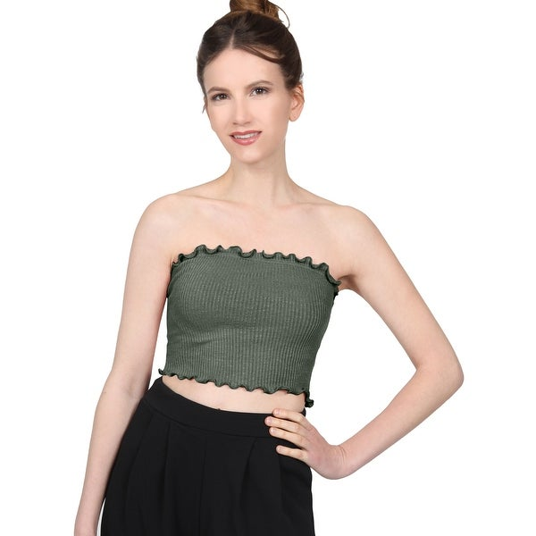 2cced7a03d4 ... Women s Clothing     Tops     Sleeveless Shirts. NE PEOPLE Women  x27 s  Fitted Ribbed Ruffle Hem Spandex Crop Tube Tops