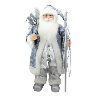 """25"""" Ice Palace Standing Santa Claus in Blue and Silver Holding A Staff Christmas Figure - N/A"""
