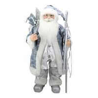 """25"""" Ice Palace Standing Santa Claus in Blue and Silver Holding A Staff Christmas Figure"""