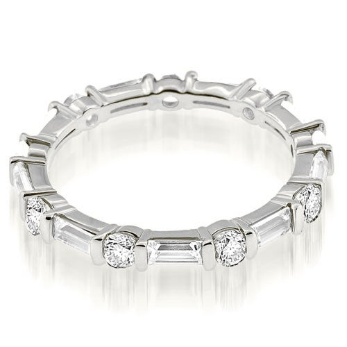 1.25 cttw. 14K White Gold Petite Round Baguette Bar Set Diamond Eternity Ring