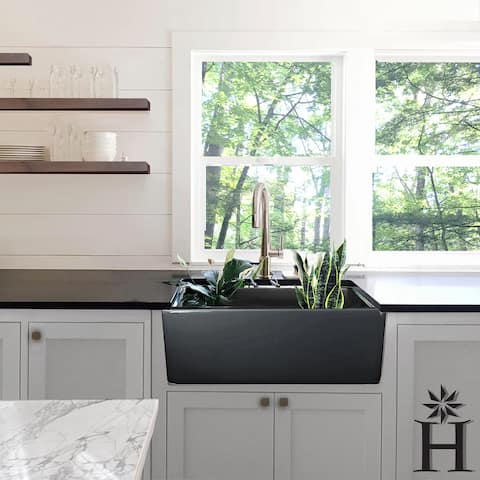 Highpoint Collection Grey 30-inch Single Bowl Fireclay Farmhouse Kitchen Sink - 30.25 x 18 x 10