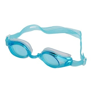 Unisex Plastic Frame Silicone Swimming Goggles Spectacles Earplugs Clear Blue