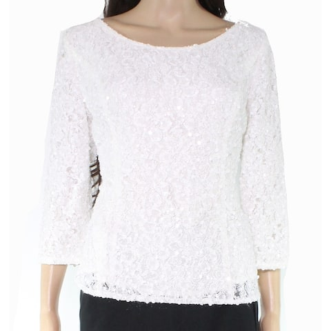Alex Evenings Womens Top White Ivory Size Medium M Floral Lace Sequined