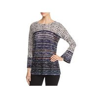 Nic + Zoe Womens Pullover Top Bell Sleeve Printed