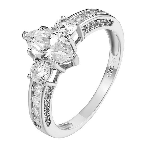 Sterling Silver Marquise Brilliant Cut Ring Engagement Promise Band