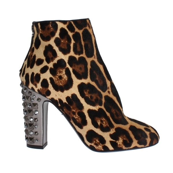 Dolce & Gabbana Leopard Pony Hair Leather Boots Shoes - 37.5