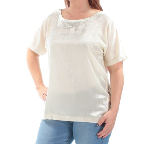 LUCKY BRAND Womens Ivory Velvet Short Sleeve Boat Neck Top Size: L