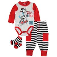 Duck Goose Baby Boys Zebra On A Roll Bodysuit Terry Pant and Socks 3Pc Gift Set