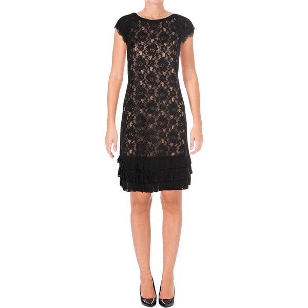 Jessica Simpson Womens Cocktail Dress Lace Cap Sleeves