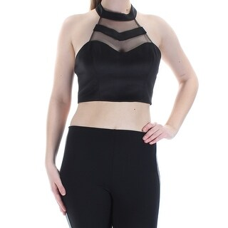 Womens Black Sleeveless Halter Crop Top Size 7