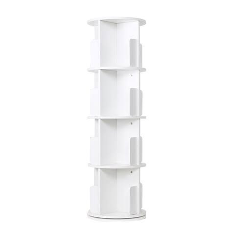 4-sided Revolving Media Storage Bookcase Rotating Bookshelf