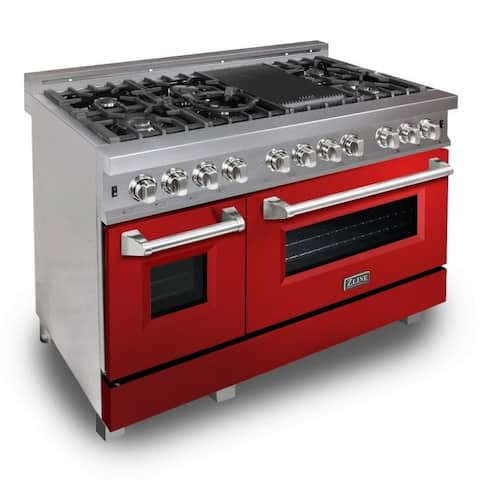 "ZLINE 48"" Professional Dual Fuel Range in DuraSnow® - Red Gloss Door"