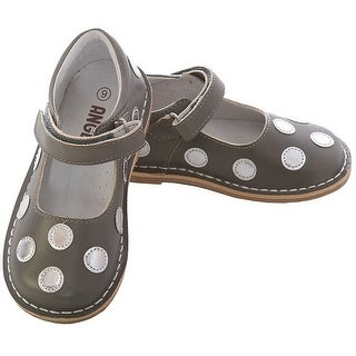 L'Amour Grey Silver Dot Hook-and-Loop Fastener Strap Mary Jane Shoe Baby Girl 4