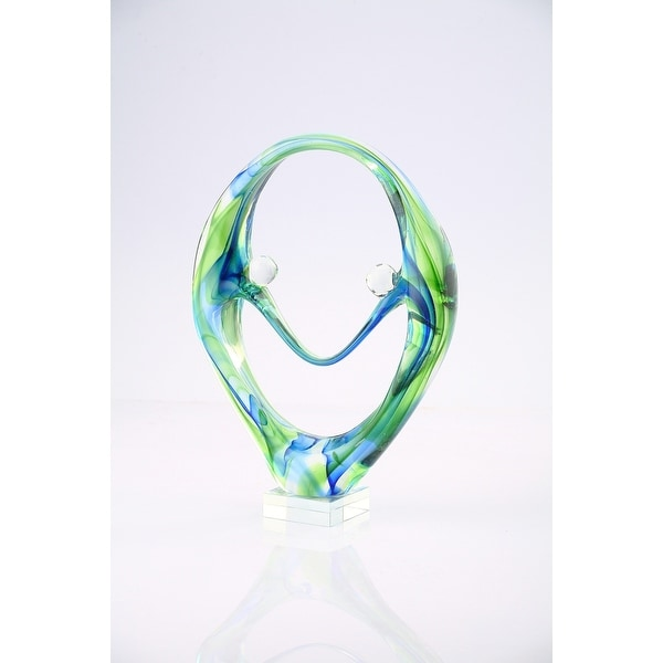 """11"""" Green and Blue Hand Blown Glass Tabletop Decor - N/A"""