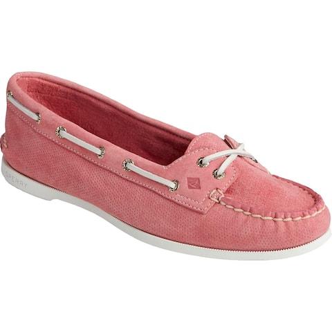 Sperry Womens Skimmer Perf Boat Shoes Nubuck Slip On - Coral - 6.5 Medium (B,M)