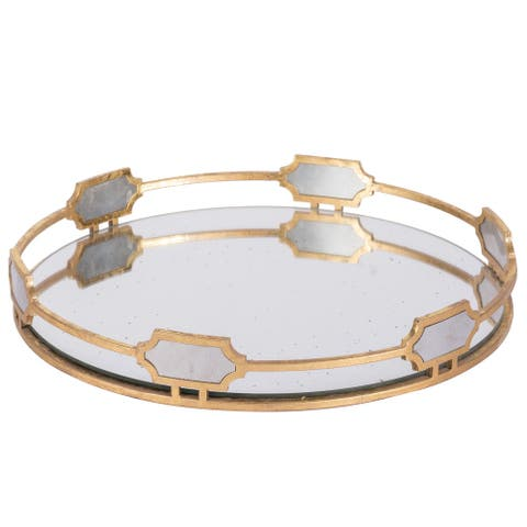 A&B Home Sovann 16-inch Vintage Gold Round Tray