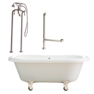 """Giagni LP2 Portsmouth 60"""" Free Standing Soaking Tub Package - Includes Tub, Tub Feet, Floor Mounted Tub Filler Faucet, and Drain"""