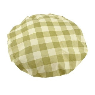 Unique Bargains Household 50cm Diameter Beige Olive Green Plaid Print Elastic Opening Fan Cover
