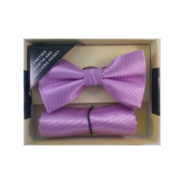 Men's Pink Solid Pre Tied Bow Tie And Handkerchief Set - One size