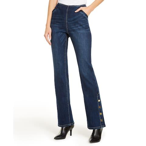 INC International Concepts Women's Snap-Hem Bootcut Jeans Blue Size 4