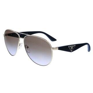 Prada PR 53QS 1BC2H2 Silver Aviator Sunglasses