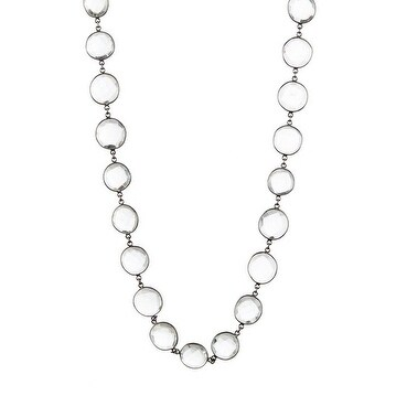 Oxidized Sterling Silver Clear Quartz Bezel Necklace