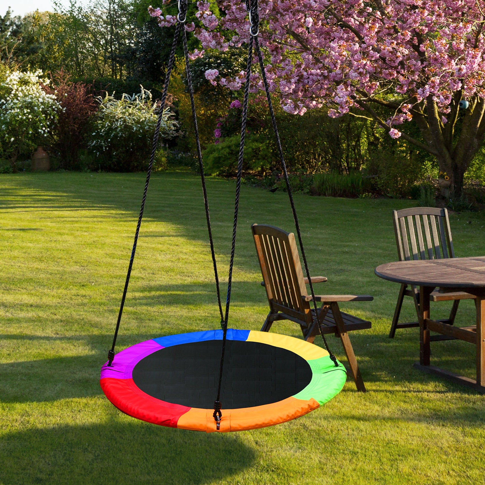 40 Tree Swing Chair Oxford Web Net Kids Outdoor Round Hanging Rope Tire Saucer Overstock 30982586