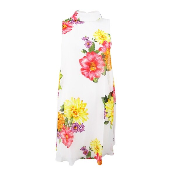 Jessica Howard Women's Floral-Print Mock-Neck Dress - Ivory Multi