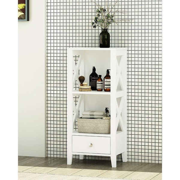 Spirich 3-Shelf X Frame Freestanding Bathroom Storage with Single Drawers, Free Standing Bathroom Floor Cabinet Shelves. Opens flyout.