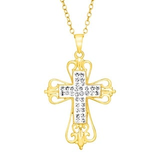 Crystaluxe Open Swirl Cross Pendant with Swarovski in 18K Gold-Plated Sterling Silver