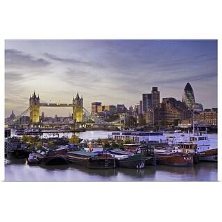 """Tower Bridge, boats and London skyline"" Poster Print"