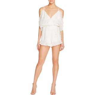Lovers + Friends Womens Romper Ruffled Cold Shoulder