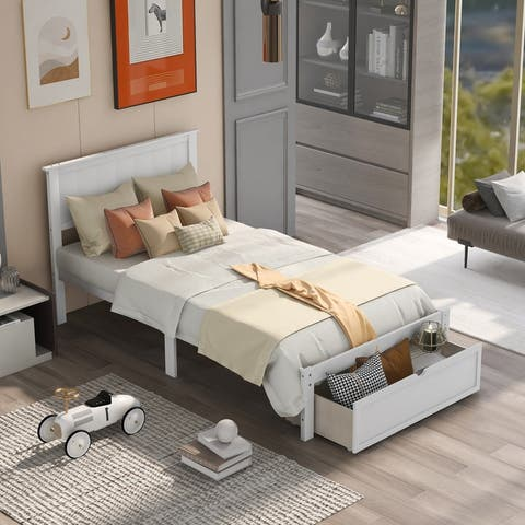 AOOLIVE Pine Wood Twin Size Platform Bed with Under-bed Drawer, White