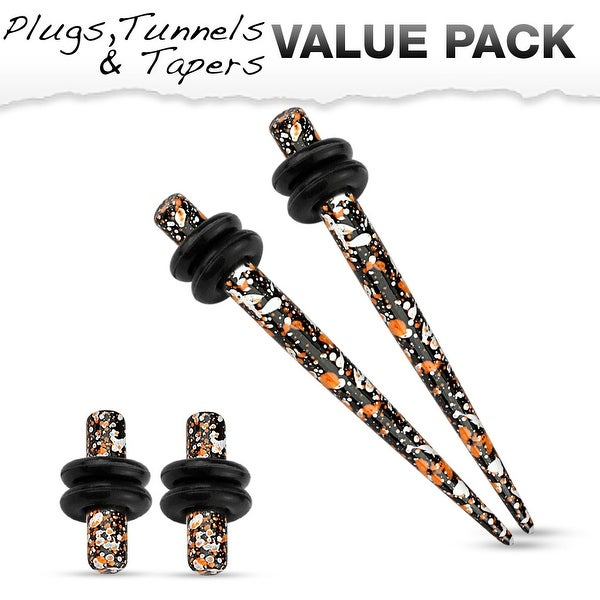 Orange & Black Splatter IP 316L Steel Plug & Taper with O-Ring Set Value Pack