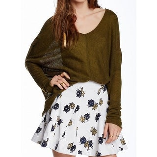 Free People NEW Olive Green Women's Size Small S V-Neck Knit Top